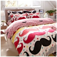 FADFAY Home Textile,Flannel Bedding Set,Cute Mustache Bedding Set,Polka Dot Bedding Set,4pcs