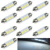 5X 36mm 3 SMD 5050 LED Pure White Car Festoon Map Interior Dome Light 12V (Size: One Size, Color: White) [8081668423]