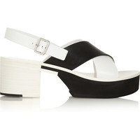 Jil Sander | Two-tone leather sandals | NET-A-PORTER.COM