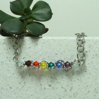 "Rainbow Crystal bar necklace 16"" hand linked jewelry"