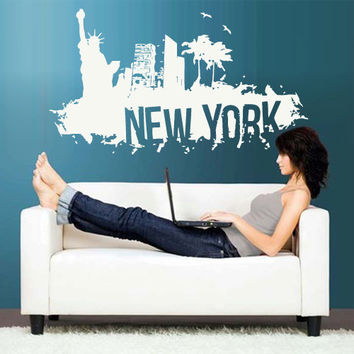 Wall Vinyl Sticker Decals Decor Art Bedroom Design Mural New York Town City Skyline (z2700)