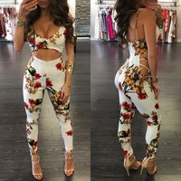 Women Sleeveless Floral Print Sexy Club wear Bodycon Jumpsuit Playsuit