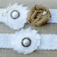 Burlap and Lace Wedding Garter Set Country Wedding Accessories Shabby Chic, Rustic Bridal accessory, Ivory Garter, White Garter, Bridal