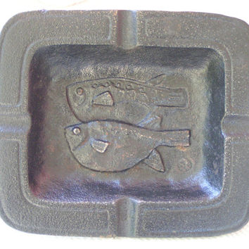 Asian Style Heavy Cast Iron Ashtray, Koi Pisces Symbol, Embossed Pair of Fish Design, Vintage  Catch All Dish