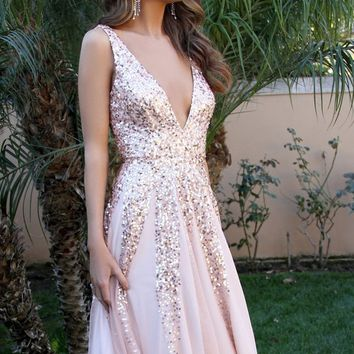 Sequins V Neck Chiffon Backless Prom Dress
