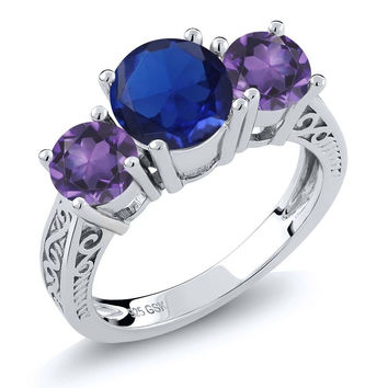 9.67 Ct Blue Simulated Sapphire Purple Amethyst 925 Sterling Silver 3-Stone Ring