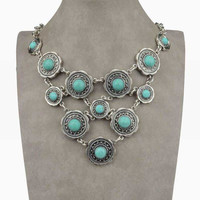 Turquoise & Silver Multi Circle Bib Necklace