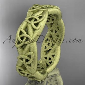 14kt yellow gold celtic trinity knot wedding band, matte finish wedding band, triquetra ring, engagement ring CT7392G