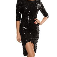 Playful Sequins Hi & Lo Dress In Black | Thirteen Vintage