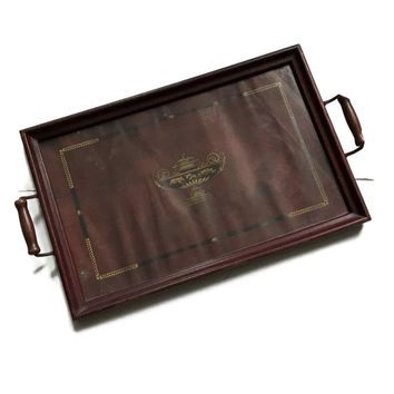 Vintage Serving Tray 1940's Wood Tray with a Glass Top and Wood Handles Rectangular Dark Brown with a Black and Gold Urn Design
