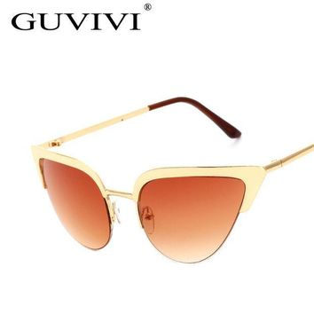 ESBU3C 2016 GUVIVI Cat Eye Sunglasses Women Vintage Metal Frame Mirror Aviation Sun Glasses Unique Flat Ladies Sunglasses UV400 GY-3145