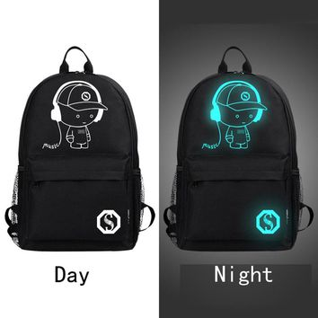 Backpacks Fashion Noctilucent Men's Backpack Anime Luminous Teenagers Woman Men Women's Student Cartoon School Casual Bags 2017