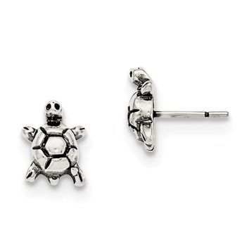 Sterling Silver Antique Turtle Post Earrings