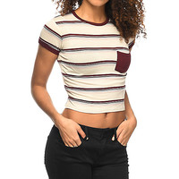Zine Lambert Burgundy & Mauve Striped Ringer T-Shirt