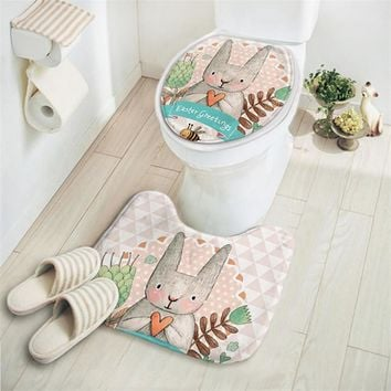 2pcs/set Bunny Pattern Bathroom Set - Water Absorbent/ Non Slip Carpet and Toilet Lid Cover
