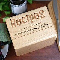 Engraved Kitchen Recipe Box