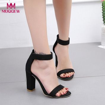 Fashion Shoes Women Fish Mouth Sandals Ladies Sexy Ankle High Heels Block Party Open Toe Shoes Hook&Loop Sandals Shoes