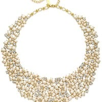kate spade new york Gold-Tone Imitation Pearl and Crystal Cluster Collar Necklace