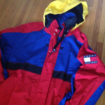 90s Vintage Tommy Hilfiger Hooded Hip Hop Ski Color Block Coat Jacket. Size XXL