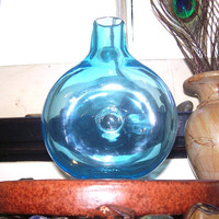 Blown Glass Flask, Turquoise Blue Modern Art Glass, by Taylor Kelly
