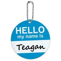 Teagan Hello My Name Is Round ID Card Luggage Tag