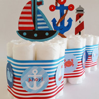 Nautical Baby Shower Centerpieces, Nautical Diaper Cake, Sailor Diaper Cakes, Ahoy It's A Boy Baby Shower Decor