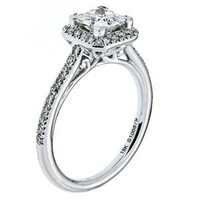 Amavida Unique Princess Cut Halo Diamond Engagement Rings