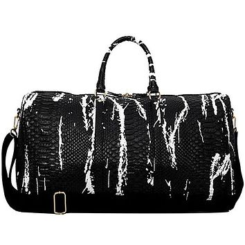 Sports gym bag Hot Large Travel Yoga Handbag Snake Pattern PU Leather Sports Men's Gym Bag PU Tote For Womens Duffel Bags Cross Shoulder Bag KO_5_1