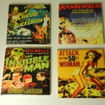 Decorative Horror Movie Coasters Set Four Black Lagoon 50 ft Woman  Ceramic  Old  Horror Movie Poster  Drink Coasters Handmade
