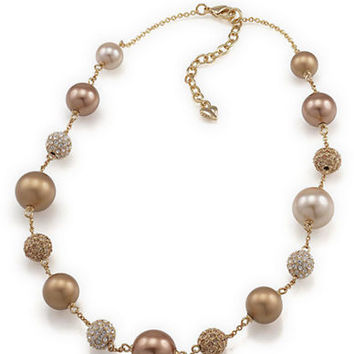 Carolee Faux Pearl Station Necklace
