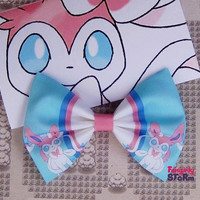 Sylveon  Pokemon Hair bow/ Bow tie Handmade unique Fabric  Geeky Kawaii gamer  Bow