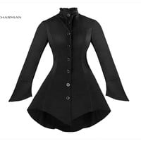 Women's Winter Gothic Vintage Jacket Long Sleeve Button Down Black Jacket