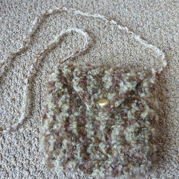 Crochet Purse  - Crossbody Bag Lined With Button Closure