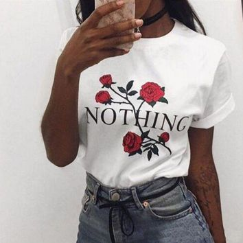 LMFON Rose flower Letter Print Shirt Top Tee