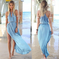 Summer Women Bandage V-Neck Beach Boho Maxi Sundress Long Dress AP = 4904958660