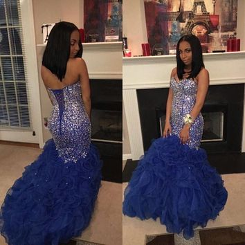 Luxury Royal Blue Mermaid Prom Dress With Fully Beaded Embellishment Sweetheart Strapless Ruffle Dress
