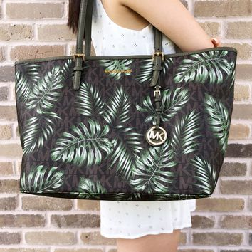 Michael Kors Jet Set Travel Large Carryall Tote Brown MK Olive Green Palm Leaves