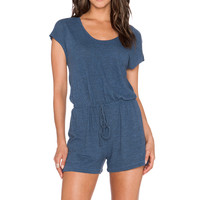 Lanston Tri Blend Muscle Romper in Chambray