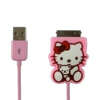 Tech-Smart Hello Kitty Retractable USB Data Sync Charger Cable for iPhone 3&4/iPad/iPod, Cute Pink M375