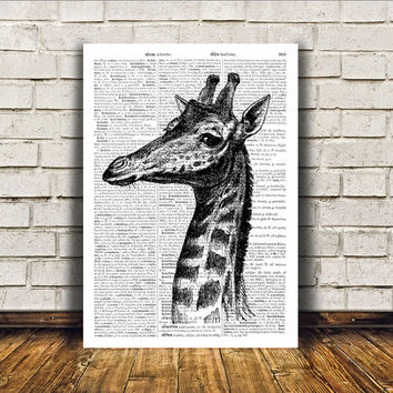 Animal art Giraffe poster Dictionary print Modern decor RTA164