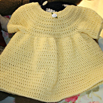 Baby crochet dress High quality hand made baby girl clothes crochetyknitsnbits OOAK lemon acrylic layette baby shower gift 0 to 6 months