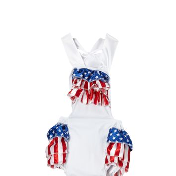 White Flag 4th of July Bubble Romper