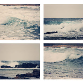 Ocean Collection 4 Fine Art Photography Metallic photo wall Print Sea Nautical photograph Set beach home decor Navy blue wave waves gray