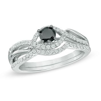 1/2 CT. Black and White Diamond Bypass Bridal Engagement Ring Set in Sterling Silver