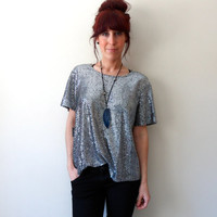 Silver Chainmail Inspired Sparkle Top Sequin Lurex Blouse 80's 90's T-Shirt