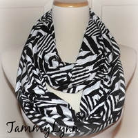 NEW! Black Ethnic Tribal Print on White Soft Cotton Jersey Knit Infinity Scarf Ready to Ship!! Women's Accessories