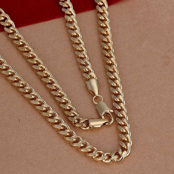 silver plated Chain 7mm Golden Sideways Necklaces Pendants Men jewelry 238 MP