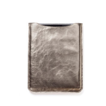 Gold iPad case, genuine italian leather