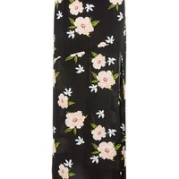 Black Split Floral Print Maxi Skirt