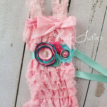 Cotton Candy Romper Sash, & Headband- Pink, Aqua, Bubble Gum Pink, Turquoise, Cake Smash, Birthday, Newborn, Infant, Toddler, Photo prop
